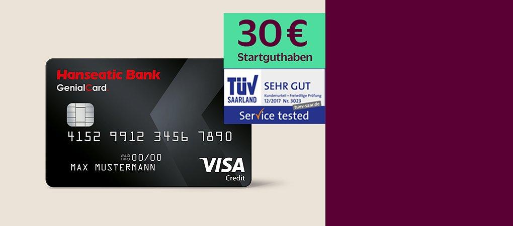 Visa-Kreditkarte ohne Jahresgebühr mit flexibler Rückzahlung.