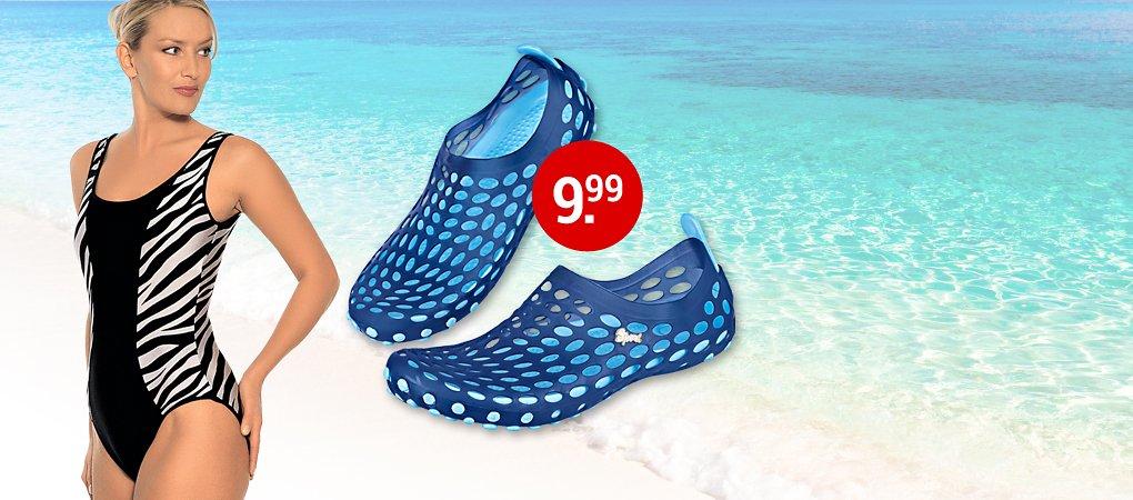 Schwimmschuhe und Badeanzug