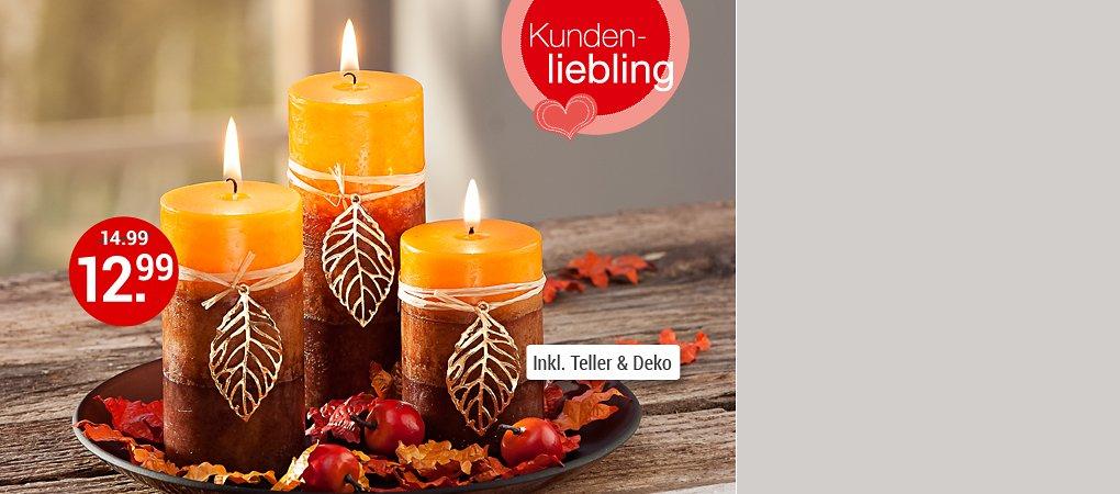 """Dekorieren Sie noch mehr Behaglichkeit mit dem Kerzenset """"Herbstlaub"""""""