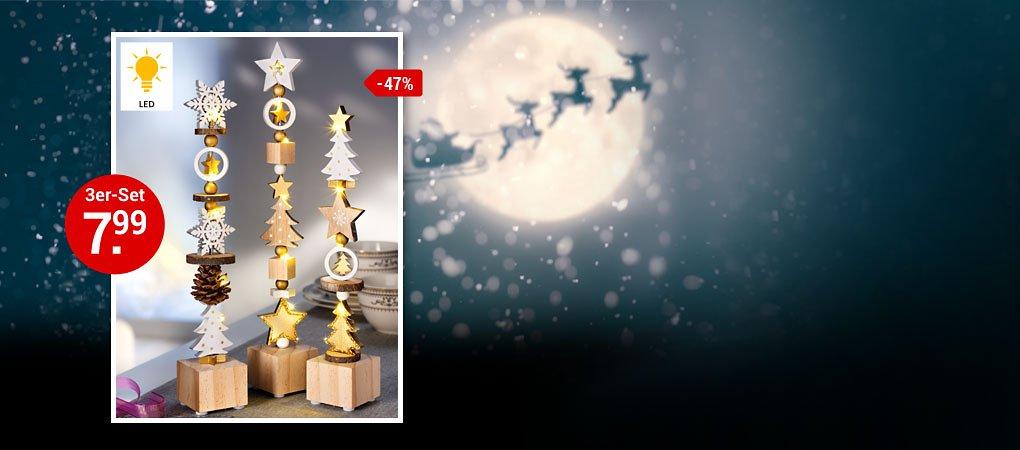 """Die helle Freude: LED-Dekosäulen """"Weiße Weihnacht"""""""