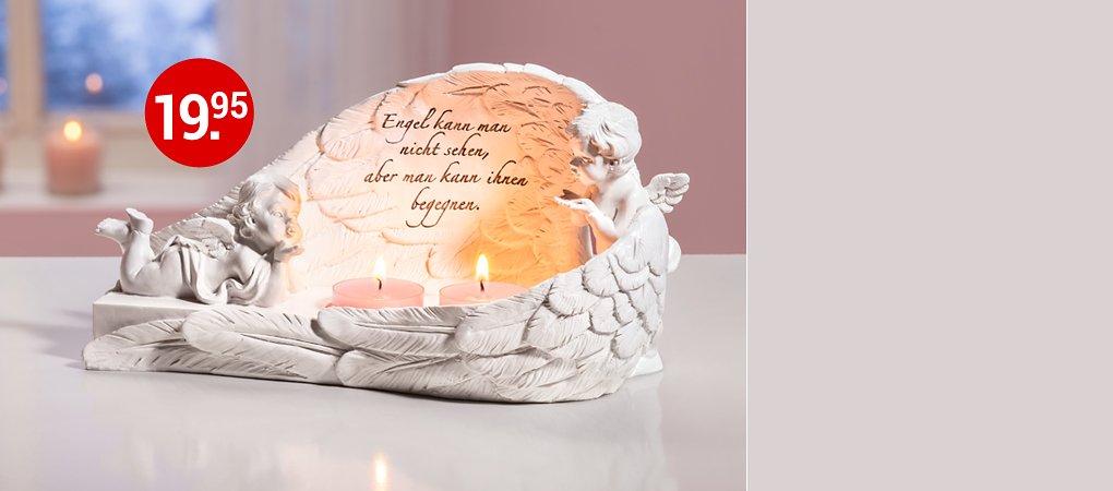 """Einfach himmlisch: Teelichthalter """"Engelsflügel"""" mit Spruch"""
