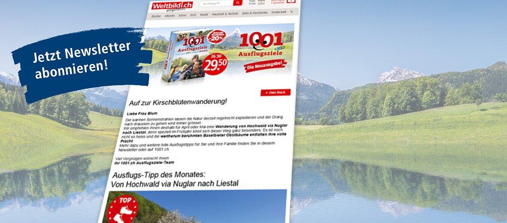 Verpassen Sie keinen Ausflugs-Tipp mehr! Abbonieren Sie den 1001-Ausflugsziele Newsletter