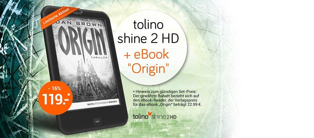 """Limitierte Aktion: tolino shine 2 HD inkl. eBook-Bestseller """"Origin"""" von Dan Brown"""