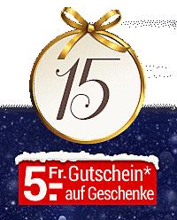 Nur heute im Online-Adventskalender: Fr. 5.- Gutschein auf viele ausgewählte Geschenk-Ideen!