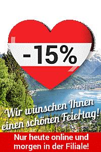 Wir wünschen Ihnen einen schönen Feiertag! - Sichern Sie sich jetzt -15%!