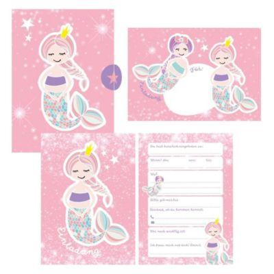 12 Glitzer Einladungskarten Meerjungfrau zum Geburtstag für Mädchen inkl. Umschläge rosa glitzernde Geburtstagseinladung - Lisa Wirth  