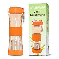 2 in 1 Trinkflasche orange, 500ml von VitalWorld - Produktdetailbild 1