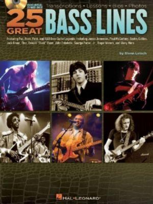 25 Great Bass Lines - for Bass Guitar, w. Audio-CD, Glenn Letsch