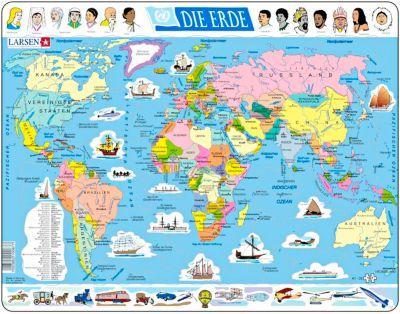 2er-Set Larsen Puzzles: Erde & Flaggen