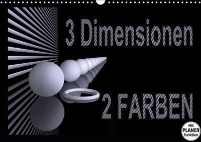3 Dimensionen - 2 Farben (Wandkalender 2019 DIN A3 quer), IssaBild