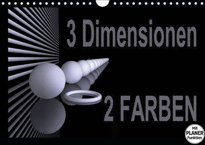3 Dimensionen - 2 Farben (Wandkalender 2019 DIN A4 quer), IssaBild