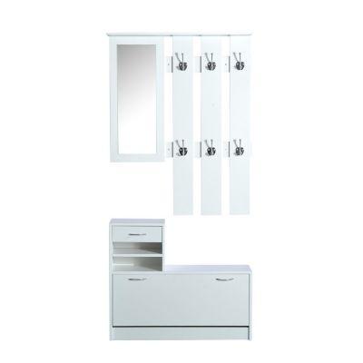 3 in 1 Garderoben Set mit Schuhschrank, Wandpaneel und Spiegel