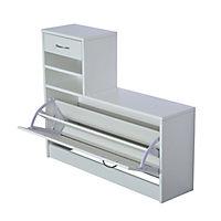 3 in 1 Garderoben Set mit Schuhschrank, Wandpaneel und Spiegel - Produktdetailbild 8