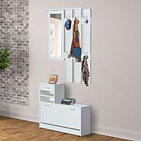 3 in 1 Garderoben Set mit Schuhschrank, Wandpaneel und Spiegel - Produktdetailbild 1