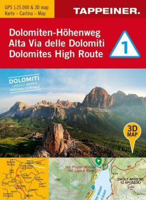 3D-Wanderkarte Dolomiten-Höhenweg 1
