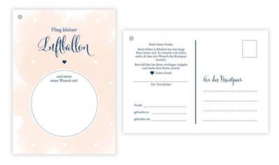 50 Ballonflugkarten für Hochzeit, gelocht und extra leicht zum Weitfliegen. Wetterfeste Ballonkarten mit Wünschen zur Ho - Sophie Heisenberg |