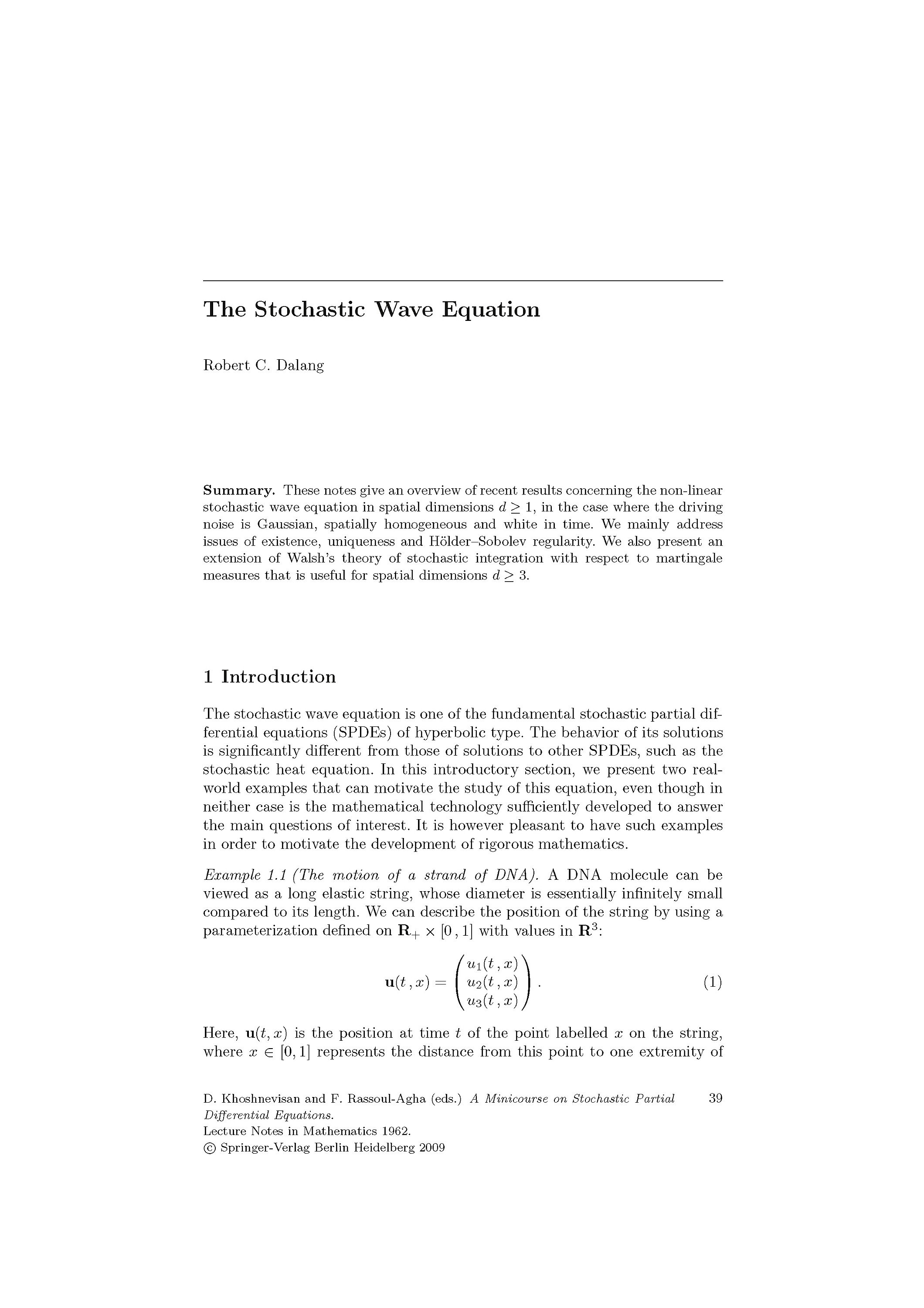A Minicourse on Stochastic Partial Differential Equations Buch