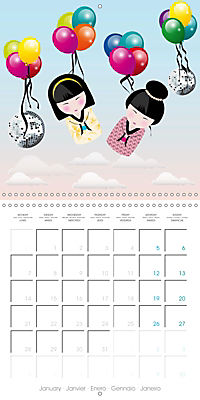 A year of Kokeshi (Wall Calendar 2019 300 × 300 mm Square) - Produktdetailbild 1