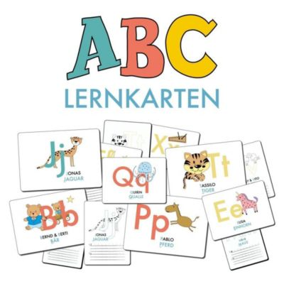 ABC-Lernkarten der Tiere, Bildkarten, Wortkarten, Flash Cards mit Gross- und Kleinbuchstaben Lesen lernen mit Tieren für, Lisa Wirth