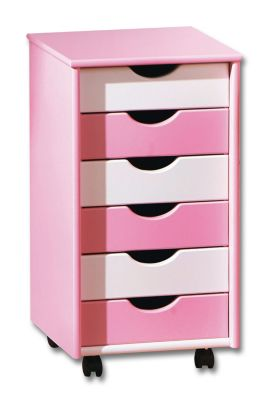ABC Rollcontainer Pierre (Farbe: rosa/weiß)