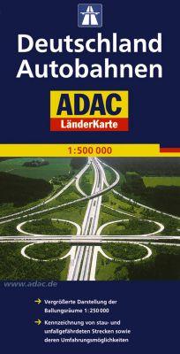 ADAC Karte Deutschland Autobahnen; German motorways