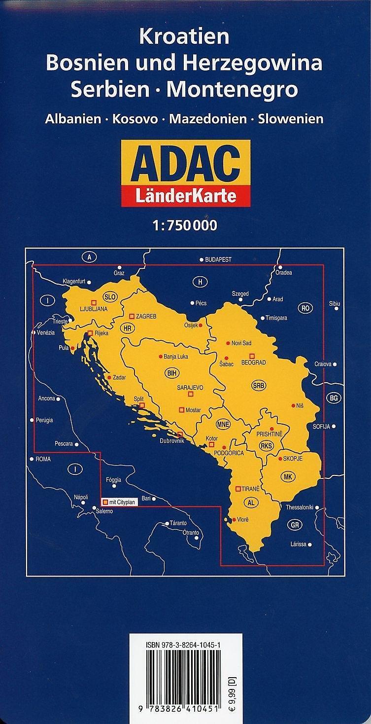 Karte Montenegro Kroatien.Adac Karte Kroatien Bosnien Und Herzegowina Serbien