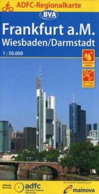 ADFC-Regionalkarte Frankfurt a. M. Wiesbaden/Darmstadt, 1:50.000, reiß- und wetterfest, GPS-Tracks Download