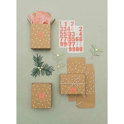 adventskalender boxen kraftpapier gold 24 st ck. Black Bedroom Furniture Sets. Home Design Ideas