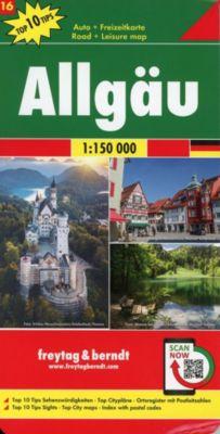 Allgäu, Autokarte 1:150.000, Top 10 Tips