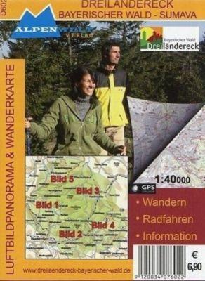 Alpenwelt Luftbildpanorama & Wanderkarte Dreiländereck - Bayerischer Wald - Sumava