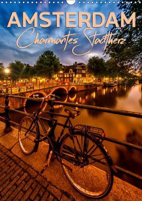 AMSTERDAM Charmantes Stadtherz (Wandkalender 2019 DIN A3 hoch), Melanie Viola