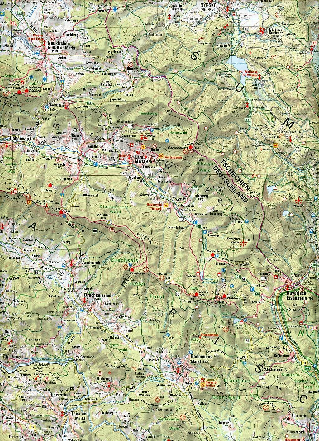 Topographische Karte Bayern.Amtliche Topographische Karte Bayern Bayerischer Wald Buch Kaufen