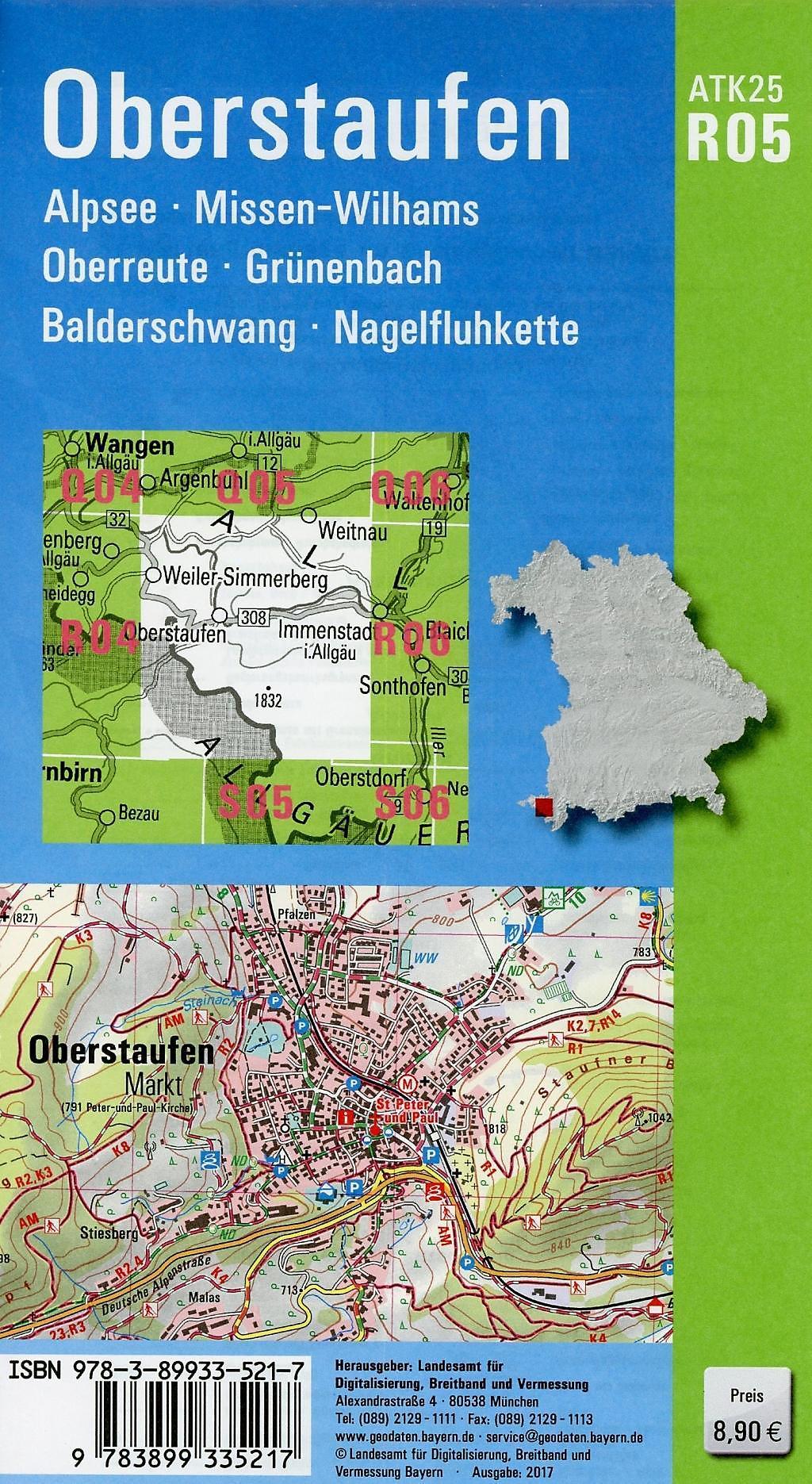Topographische Karte Bayern.Amtliche Topographische Karte Bayern Oberstaufen Buch Weltbild De