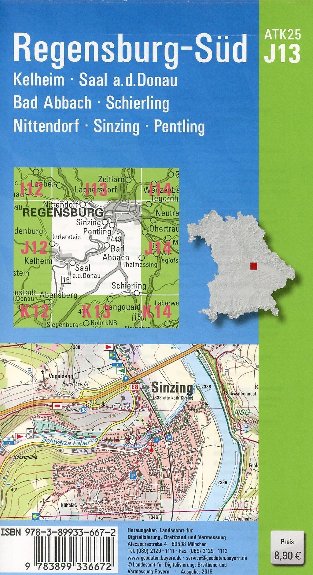 Topographische Karte Bayern.Amtliche Topographische Karte Bayern Regensburg Süd Buch Bestellen