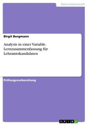 Analysis in einer Variable. Lernzusammenfassung für Lehramtskandidaten, Birgit Bergmann