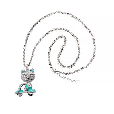 Anhänger Happy Cat auf Roller mit Kette