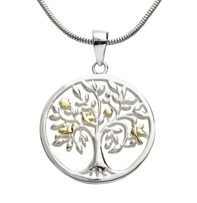 Anhänger Lebensbaum 925er Silber, teilvergoldet