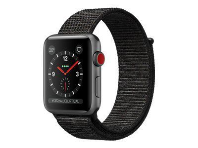 APPLE Watch Series 3 GPS + LTE 38mm Aluminiumgehäuse Space Grau - Sport Loop Schwarz