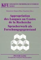 Appropriation des Langues au Centre de la Recherche. Spracherwerb als Forschungsgegenstand -  pdf epub