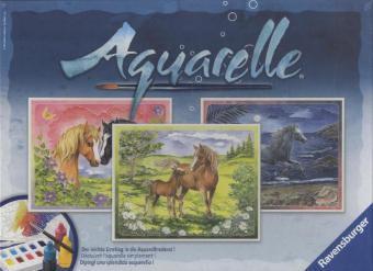 Aquarelle Maxi, Bildgröße 30 x 24 cm: Glückliche Pferde
