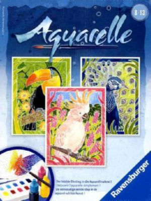 Aquarelle Midi, Bildgröße 18 x 24 cm: Exotische Vögel