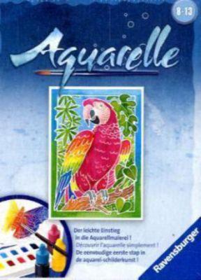 Aquarelle Mini, Bildgröße 8,5 x 12 cm: Papagei