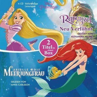 Arielle, die Meerjungfrau / Rapunzel - Neu verföhnt, 4 Audio-CDs, Disney Prinzessin