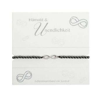 Armband mit Echtsteinen Hämatit mit Symbol Unendlichkeit, Crystals