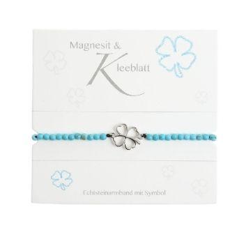 Armband mit Echtsteinen Magnesit mit Symbol Kleeblatt, Crystals
