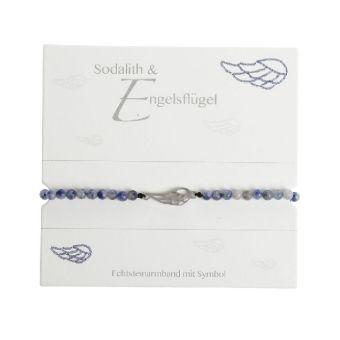 Armband mit Echtsteinen Sodalith mit Symbol Engelsflügel, Crystals