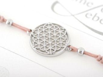 Armband mit Element & Kristallen - Blume des Lebens, Crystals