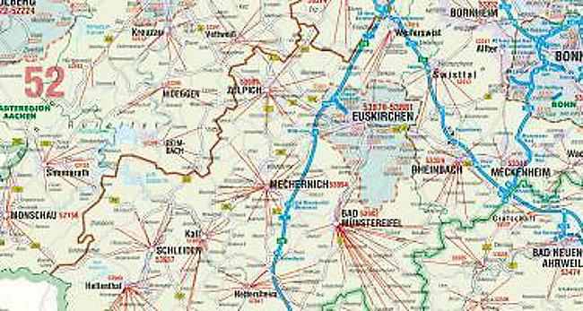 Postleitzahlen Karte.Bacher Postleitzahlen Karte Rheinland Pfalz Saarland Posterkarte