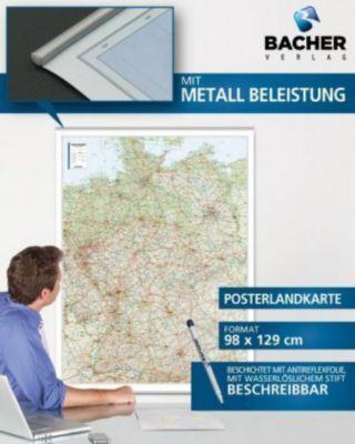Bacher Straßenkarte Deutschland, physisch, Posterlandkarte