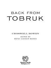 Back from Tobruk, Croswell Bowen